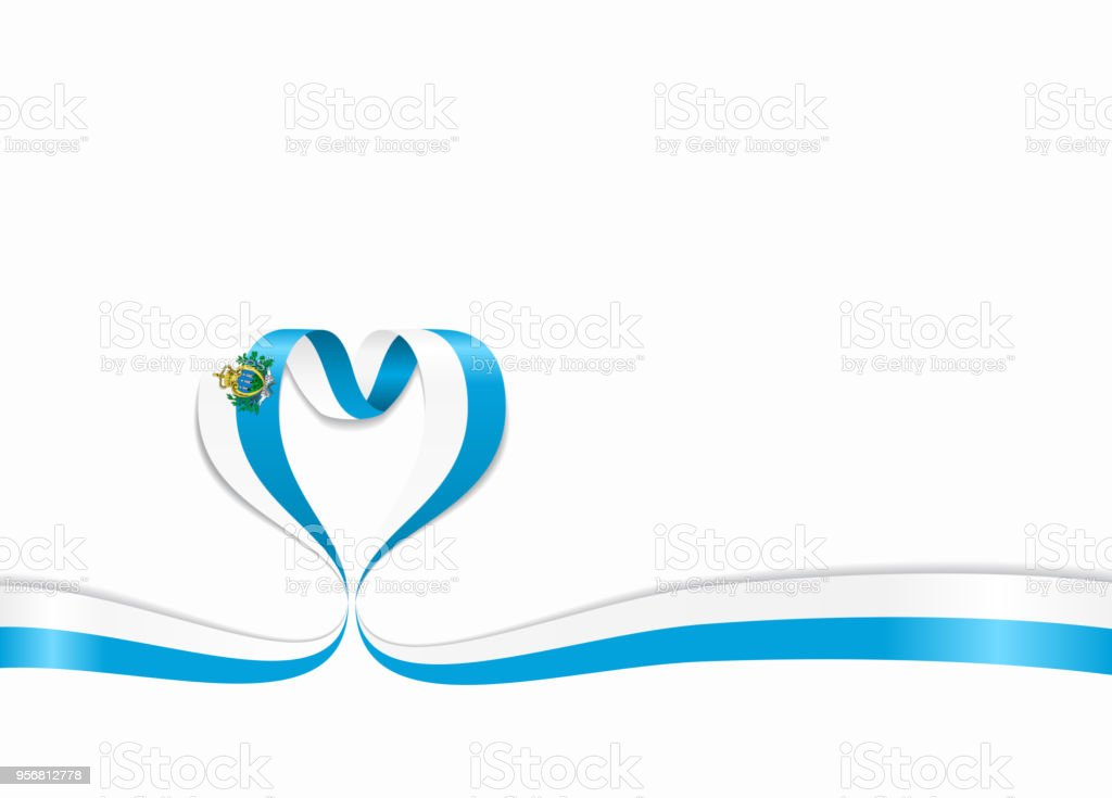 San Marino flag heart-shaped ribbon. Vector illustration. vector art illustration