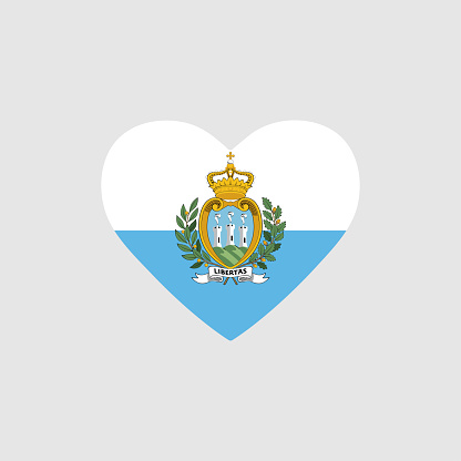 San Marino flag in heart. Country of europe. Isolated vector icon in flat
