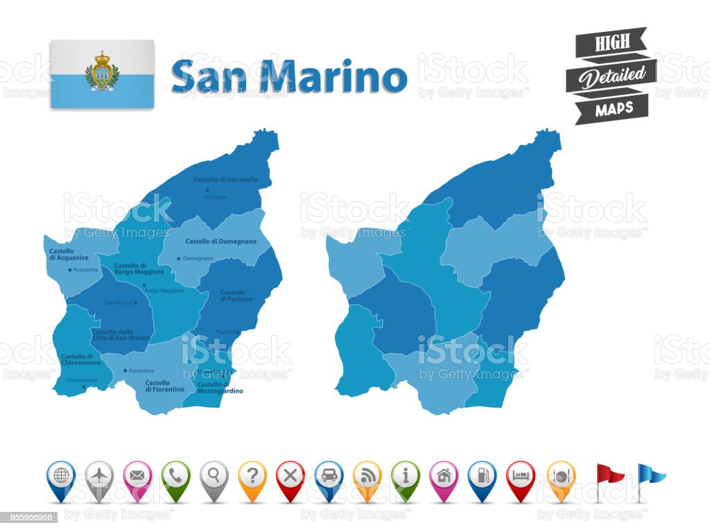 San Marino - High Detailed Map With GPS Icon Collection vector art illustration