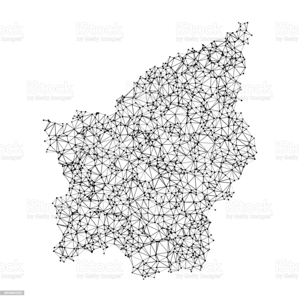 San Marino Map Network Black And White vector art illustration