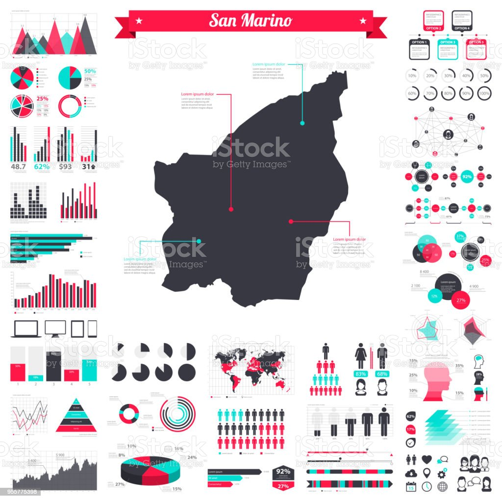 San Marino map with infographic elements - Big creative graphic set vector art illustration