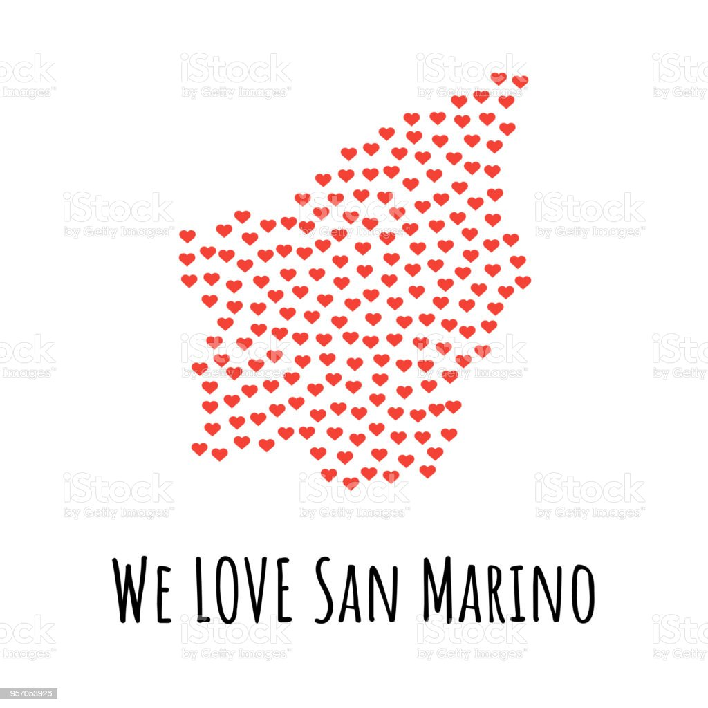 San Marino Map with red hearts - symbol of love. abstract background vector art illustration