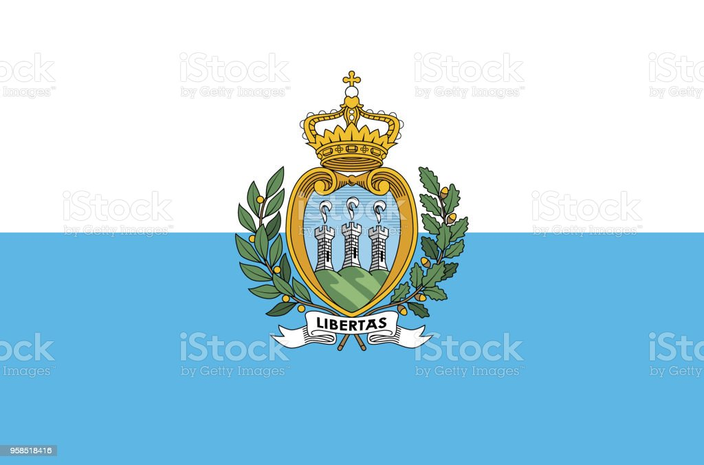 San Marino national flag. Official flag of San Marino accurate colors, true color vector art illustration