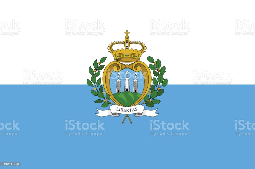 San Marino official national flag. vector art illustration