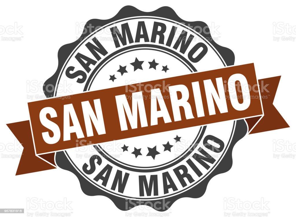 San Marino round ribbon seal vector art illustration