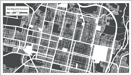 San Miguel de Tucuman Argentina City Map in Black and White Color in Retro Style. Outline Map.
