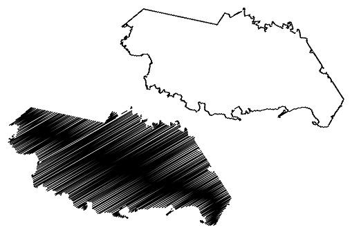 San Patricio County, Texas (Counties in Texas, United States of America,USA, U.S., US) map vector illustration, scribble sketch San Patricio map