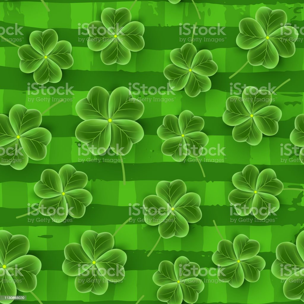 San Patricks Day Pattern Of Realistic Clover Leaves Green