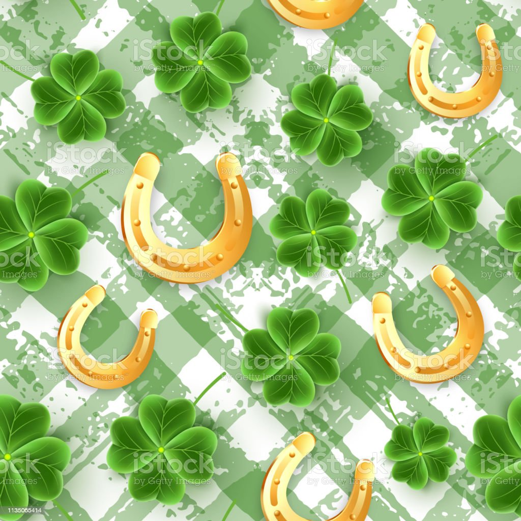 リアルなクローバーの葉のサンパトリックの日のパターン緑のシャム