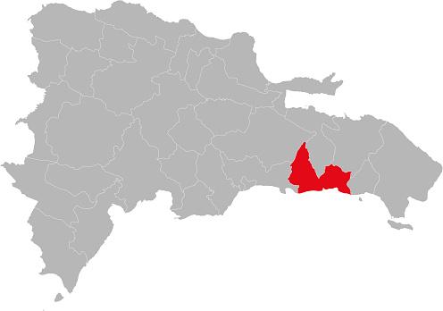 San pedro de macoris province isolated dominican republic map.