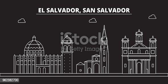 San Salvador silhouette skyline. El Salvador vector city, salvadoran linear architecture, travel illustration, outline landmark icon salvadoran line, banner