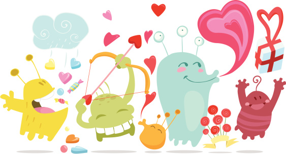 San Valentin funny monsters