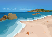 Sand beach and sea, vector colorful graphic drawing. Sandy shore with starfish and seashells, sea waves, ocean, rocks in the sea, horizon and blue sky, and island with trees. Sunny summer illustration