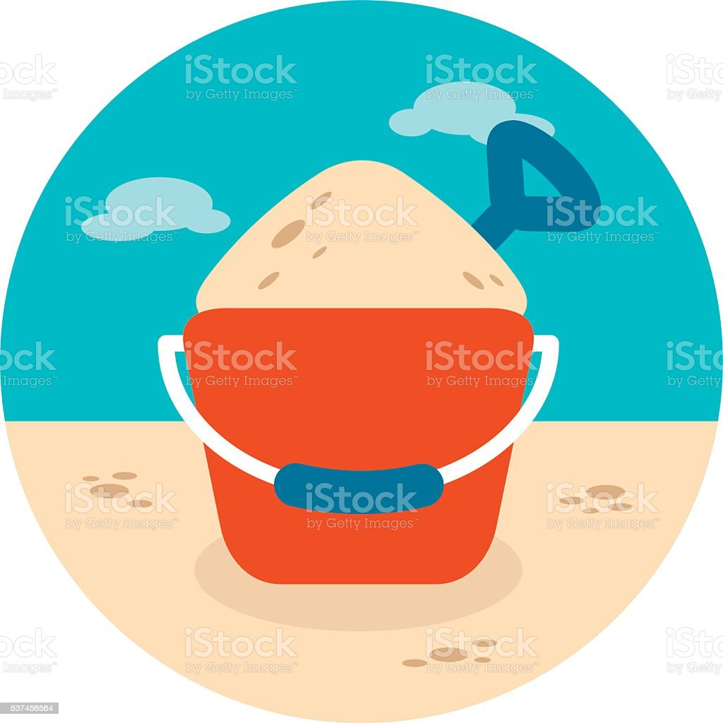 Sand Bucket and Shovel icon. Summer. Vacation vector art illustration