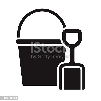 istock Sand Bucket and Shovel Travel Glyph Icon 1305165486