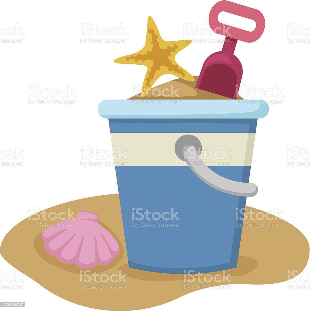 Sand bucket and shovel vector vector art illustration