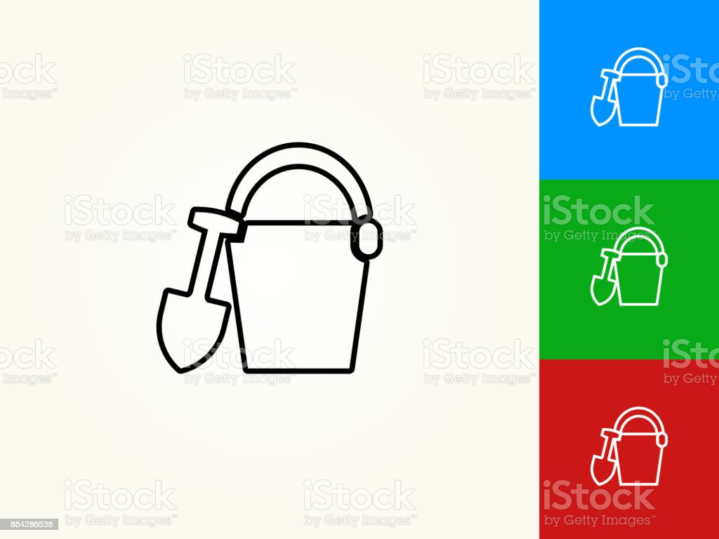Sand Bucket Black Stroke Linear Icon royalty-free sand bucket black stroke linear icon stock vector art & more images of beach