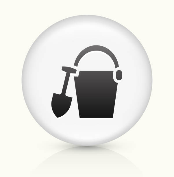 Sand Bucket icon on white round vector button vector art illustration