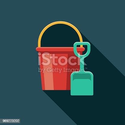 istock Sand Bucket & Shovel Flat Design Summer Icon with Side Shadow 969223202