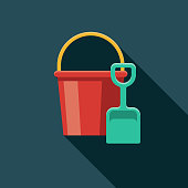 istock Sand Bucket & Shovel Flat Design Summer Icon with Side Shadow 969223202