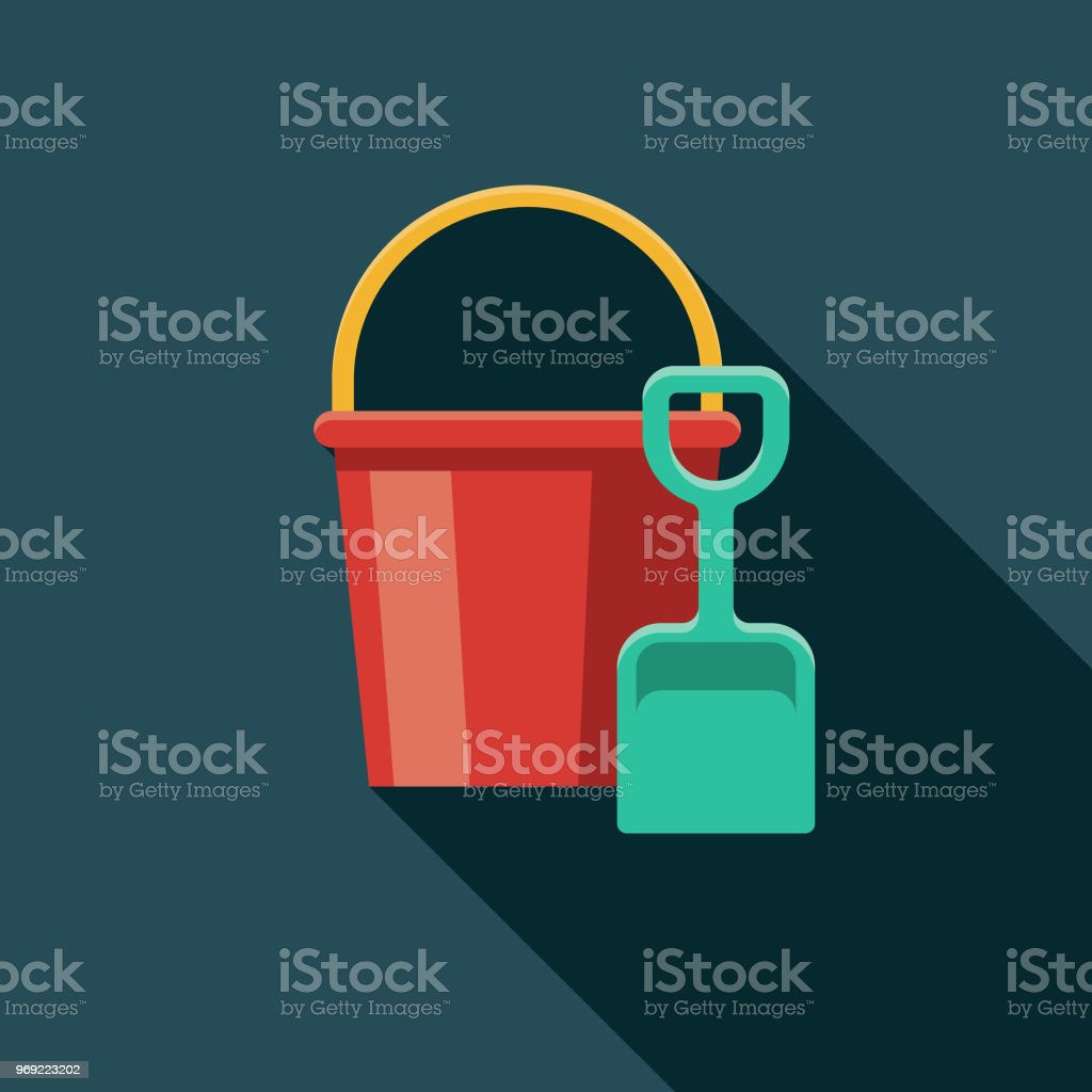 Sand Bucket & Shovel Flat Design Summer Icon with Side Shadow vector art illustration