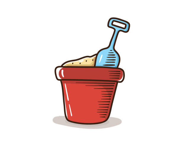 Sand bucket with spade shovel. Vector hand drawn doodle illustration. Retro style. Kids objects for summer and beach vector art illustration