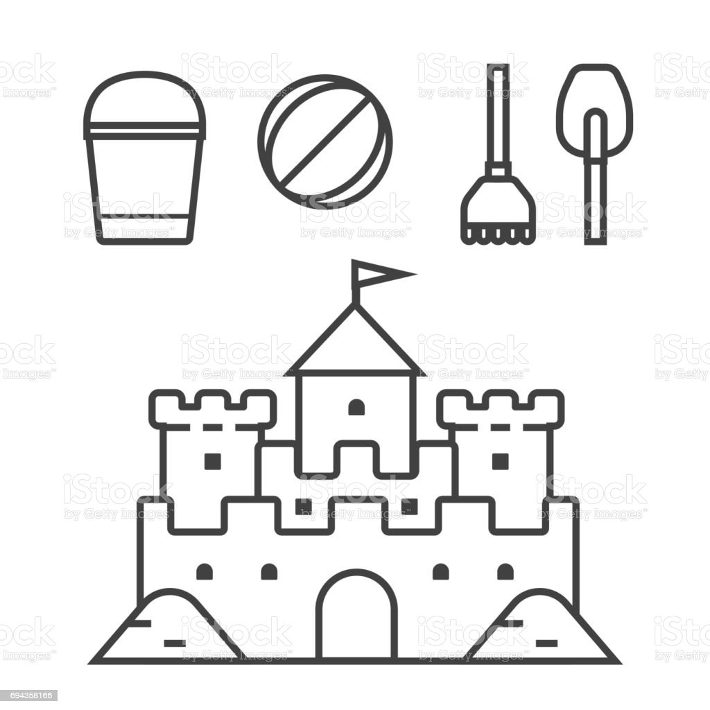sandcastle clipart black and white. sand castle and beach toys icons vector art illustration sandcastle clipart black white