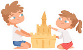 Sand castle. Boy girl build home on beach. Cartoon children playing on vacation, flat cute kids vector characters. Summer sand activity, castle build illustration