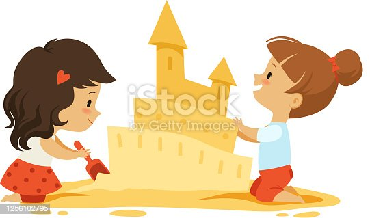 istock Sand castle. Little girls play in sandbox or on beach. Isolated kids outdoors vector characters 1256102795