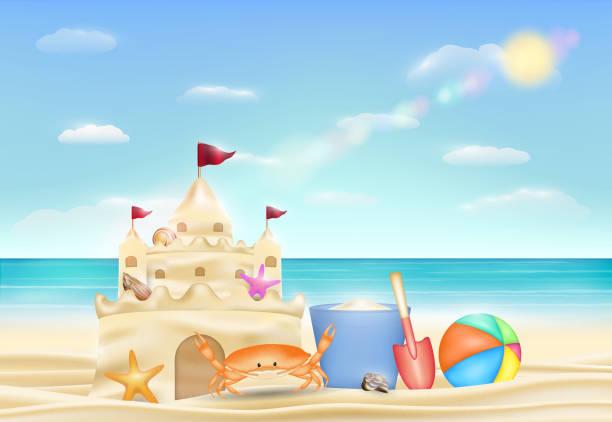 illustrations, cliparts, dessins animés et icônes de château de sable sur une plage de sable de mer - chateau de sable