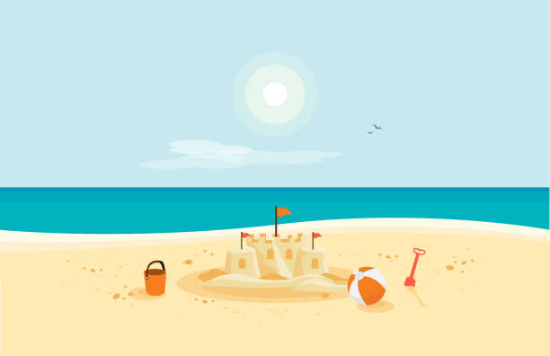 Sand Castle on Sandy Beach with Blue Sea Ocean and Clear Summer Sunny Sky Lonely sand castle on sandy beach with blue sea ocean water and coast line clear summer sunny sky in background. Kid toys left on sand on holiday. Minimalist cartoon style flat vector illustration. beach stock illustrations