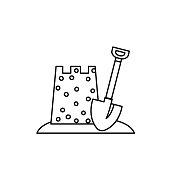istock Sand Castle Summer icon Thin Line Style 1251131700