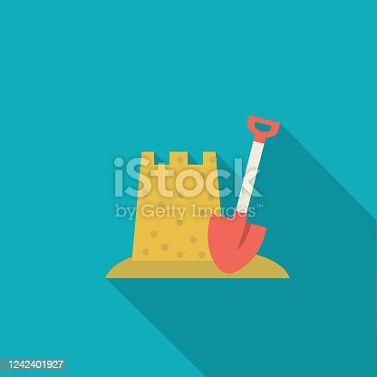 istock Sand Castle Summer icon With Shadow 1242401927