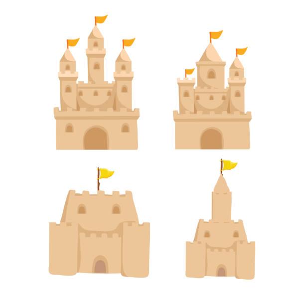 illustrations, cliparts, dessins animés et icônes de conception de collection pour le vecteur château de sable - chateau de sable