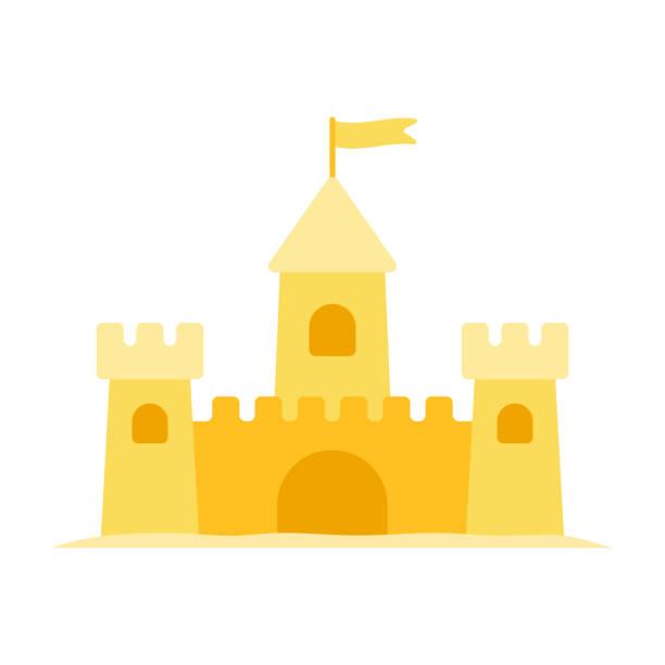 illustrations, cliparts, dessins animés et icônes de symbole plat de vecteur de château de sable isolé sur le blanc - chateau de sable