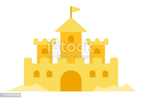 istock Sand castle vector icon flat isolated 1225078258