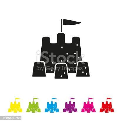 istock Sand castle vector icon 1285489758