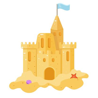 Sand castle. Vector illustration. summer