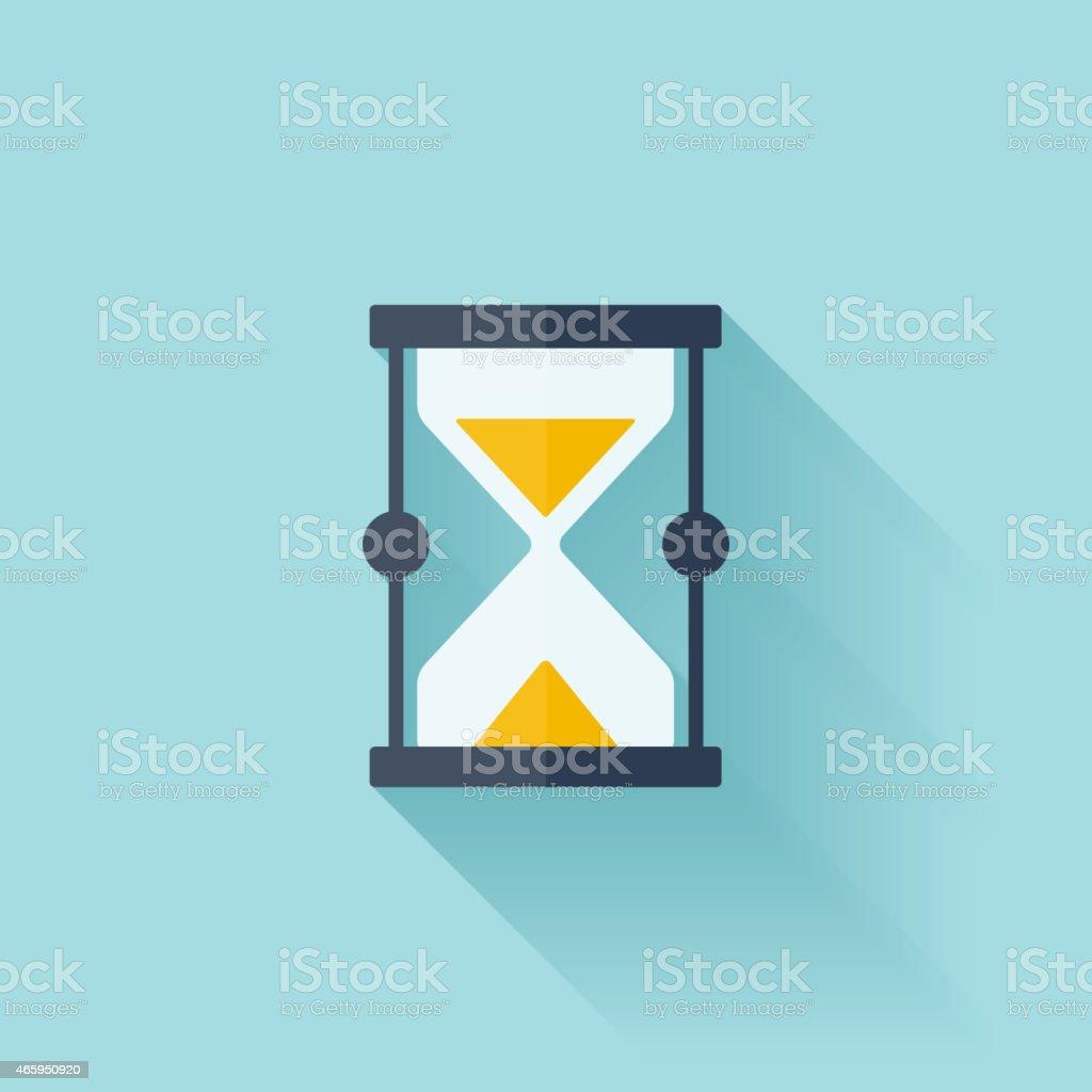 Sand clock flat icon vector art illustration