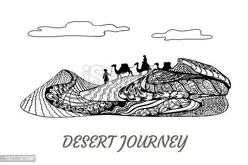 istock Sand dune journey on camels. Zenart,  vector design, desert travel concept art 1321732598