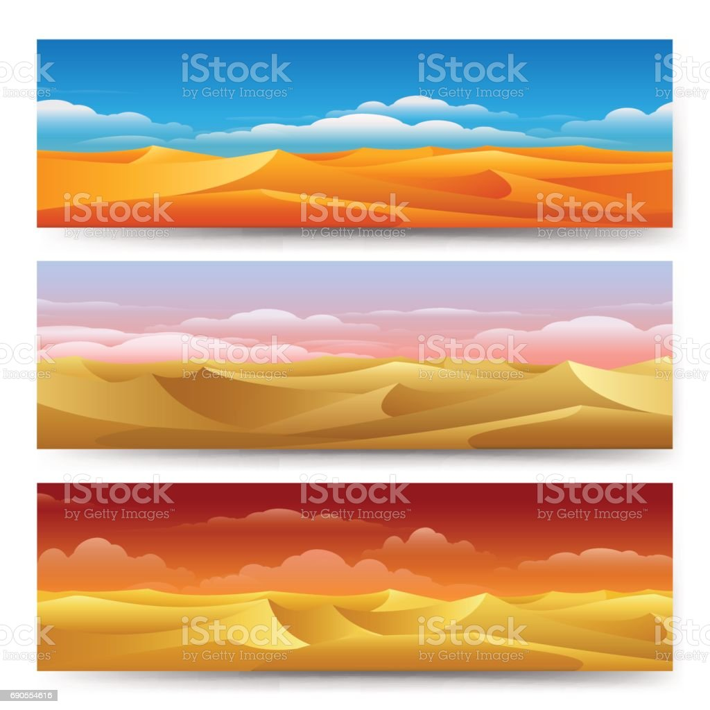 Sand dunes banners set vector art illustration