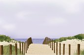 vector illustration of Beach scene leading down to water's edge - simple linear gradients used - only sky (on separate layer) uses gradient mesh. Easy to edit separate layers and global colours.