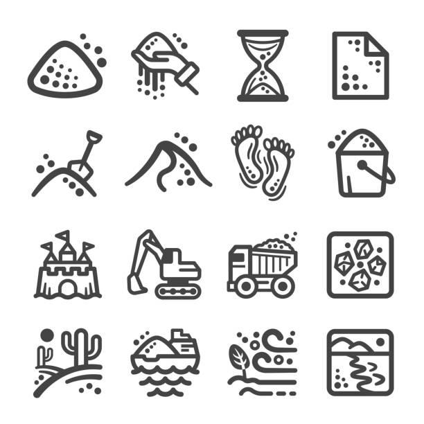 ilustraciones, imágenes clip art, dibujos animados e iconos de stock de conjunto de iconos de arena - arena