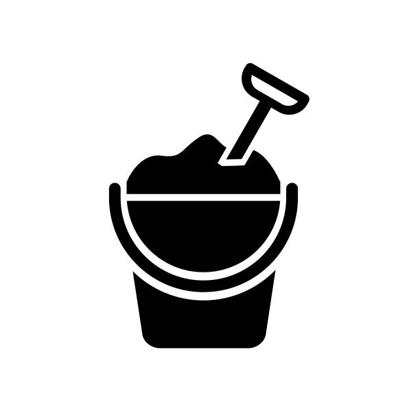 Sand on bucket vector art illustration