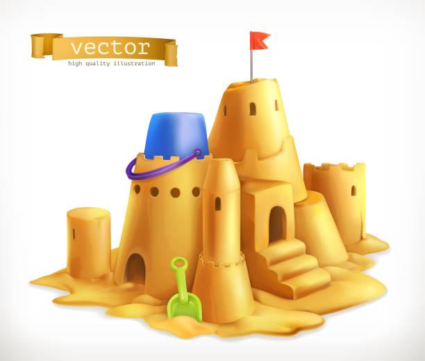 illustrations, cliparts, dessins animés et icônes de sable jouer, icône de vecteur 3d sandcastle - chateau de sable