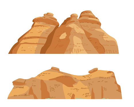 Sand Rocks Formations Vector Illustration Set. Isolated On White.