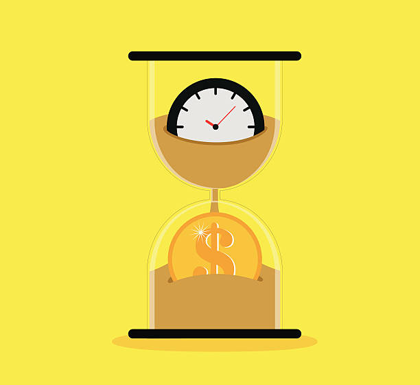 A sand timer icon depicting time is money Time is money time is money stock illustrations