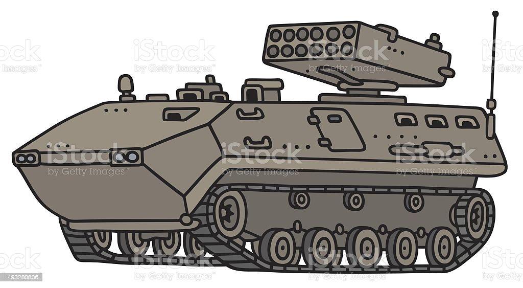 Sand track armoured vehicle vector art illustration