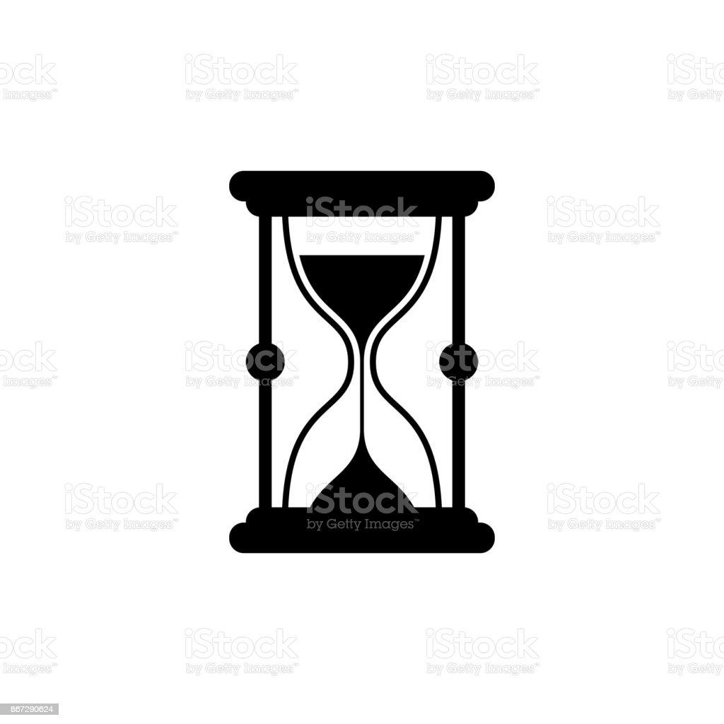 Ilustración De Icono De Reloj De Arena Icono Negro Minimalista
