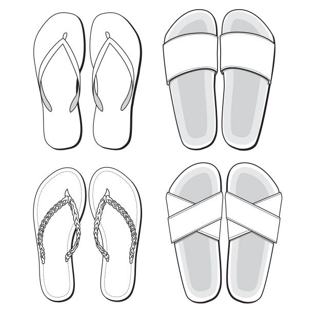 Royalty free drawing of the blank shoe template clip art vector sandal template vector art illustration maxwellsz